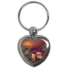 Tropical Style Collage Design Poster Key Chains (Heart)