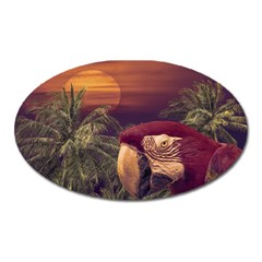 Tropical Style Collage Design Poster Oval Magnet