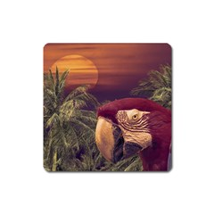 Tropical Style Collage Design Poster Square Magnet