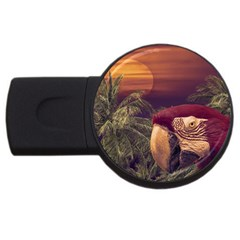 Tropical Style Collage Design Poster USB Flash Drive Round (2 GB)