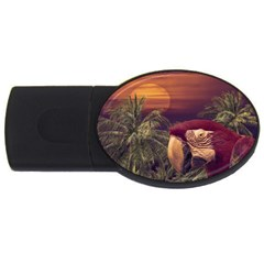 Tropical Style Collage Design Poster USB Flash Drive Oval (2 GB)