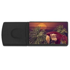 Tropical Style Collage Design Poster USB Flash Drive Rectangular (1 GB)