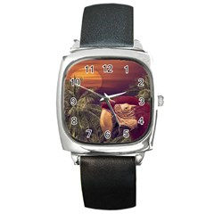 Tropical Style Collage Design Poster Square Metal Watch