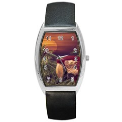 Tropical Style Collage Design Poster Barrel Style Metal Watch
