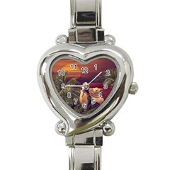 Tropical Style Collage Design Poster Heart Italian Charm Watch