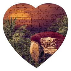 Tropical Style Collage Design Poster Jigsaw Puzzle (Heart)