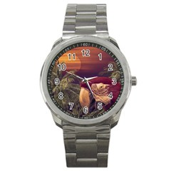 Tropical Style Collage Design Poster Sport Metal Watch