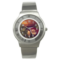 Tropical Style Collage Design Poster Stainless Steel Watch