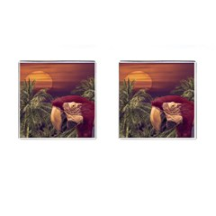 Tropical Style Collage Design Poster Cufflinks (Square)