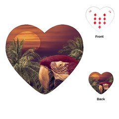 Tropical Style Collage Design Poster Playing Cards (Heart)