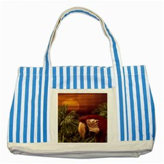 Tropical Style Collage Design Poster Striped Blue Tote Bag
