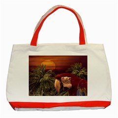 Tropical Style Collage Design Poster Classic Tote Bag (Red)