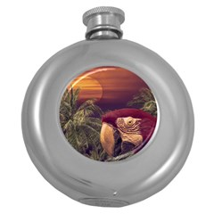 Tropical Style Collage Design Poster Round Hip Flask (5 oz)