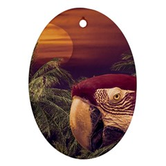 Tropical Style Collage Design Poster Oval Ornament (Two Sides)