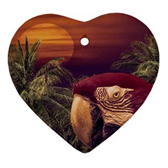 Tropical Style Collage Design Poster Heart Ornament (Two Sides)
