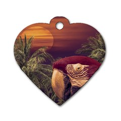 Tropical Style Collage Design Poster Dog Tag Heart (One Side)