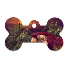 Tropical Style Collage Design Poster Dog Tag Bone (Two Sides)