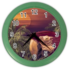 Tropical Style Collage Design Poster Color Wall Clocks