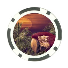 Tropical Style Collage Design Poster Poker Chip Card Guard