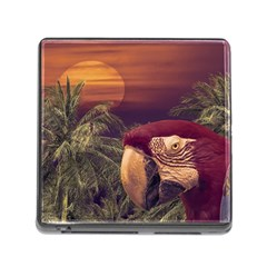 Tropical Style Collage Design Poster Memory Card Reader (Square)