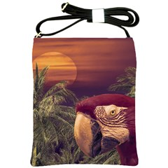 Tropical Style Collage Design Poster Shoulder Sling Bags