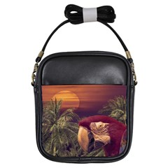 Tropical Style Collage Design Poster Girls Sling Bags