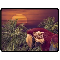 Tropical Style Collage Design Poster Fleece Blanket (Large)