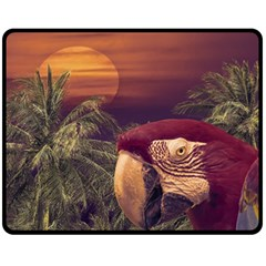 Tropical Style Collage Design Poster Fleece Blanket (Medium)