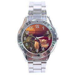 Tropical Style Collage Design Poster Stainless Steel Analogue Watch