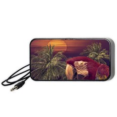Tropical Style Collage Design Poster Portable Speaker (Black)