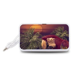 Tropical Style Collage Design Poster Portable Speaker (White)