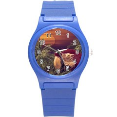 Tropical Style Collage Design Poster Round Plastic Sport Watch (S)