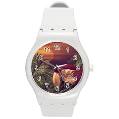 Tropical Style Collage Design Poster Round Plastic Sport Watch (M)