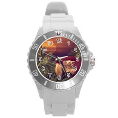 Tropical Style Collage Design Poster Round Plastic Sport Watch (L)