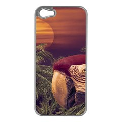 Tropical Style Collage Design Poster Apple iPhone 5 Case (Silver)