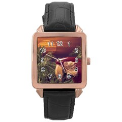 Tropical Style Collage Design Poster Rose Gold Leather Watch
