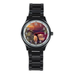 Tropical Style Collage Design Poster Stainless Steel Round Watch