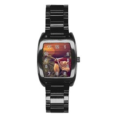 Tropical Style Collage Design Poster Stainless Steel Barrel Watch