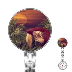 Tropical Style Collage Design Poster Stainless Steel Nurses Watch