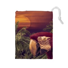 Tropical Style Collage Design Poster Drawstring Pouches (Large)