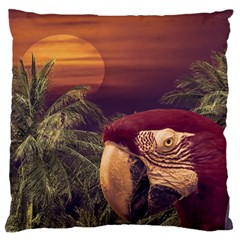 Tropical Style Collage Design Poster Large Flano Cushion Case (One Side)