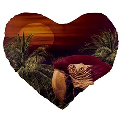 Tropical Style Collage Design Poster Large 19  Premium Flano Heart Shape Cushions