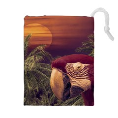 Tropical Style Collage Design Poster Drawstring Pouches (extra Large)