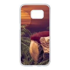 Tropical Style Collage Design Poster Samsung Galaxy S7 edge White Seamless Case