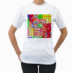 Abstract Polka Dot Pattern Women s T Shirt (white) (two Sided)