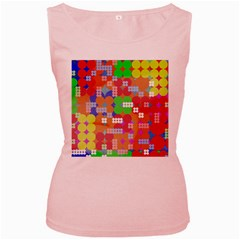 Abstract Polka Dot Pattern Women s Pink Tank Top
