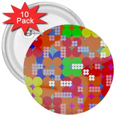 Abstract Polka Dot Pattern 3  Buttons (10 pack)