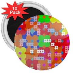 Abstract Polka Dot Pattern 3  Magnets (10 Pack)