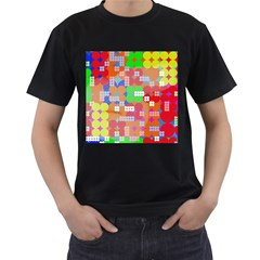 Abstract Polka Dot Pattern Men s T-Shirt (Black) (Two Sided)