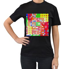 Abstract Polka Dot Pattern Women s T-Shirt (Black) (Two Sided)